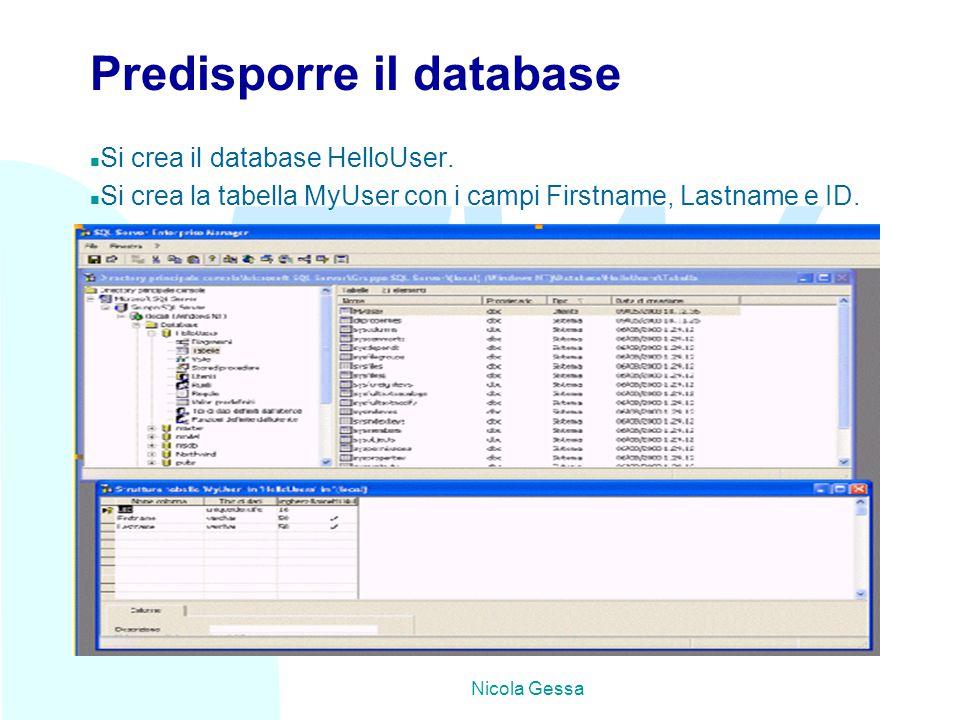 TW Nicola Gessa Predisporre il database n Si crea il database HelloUser.