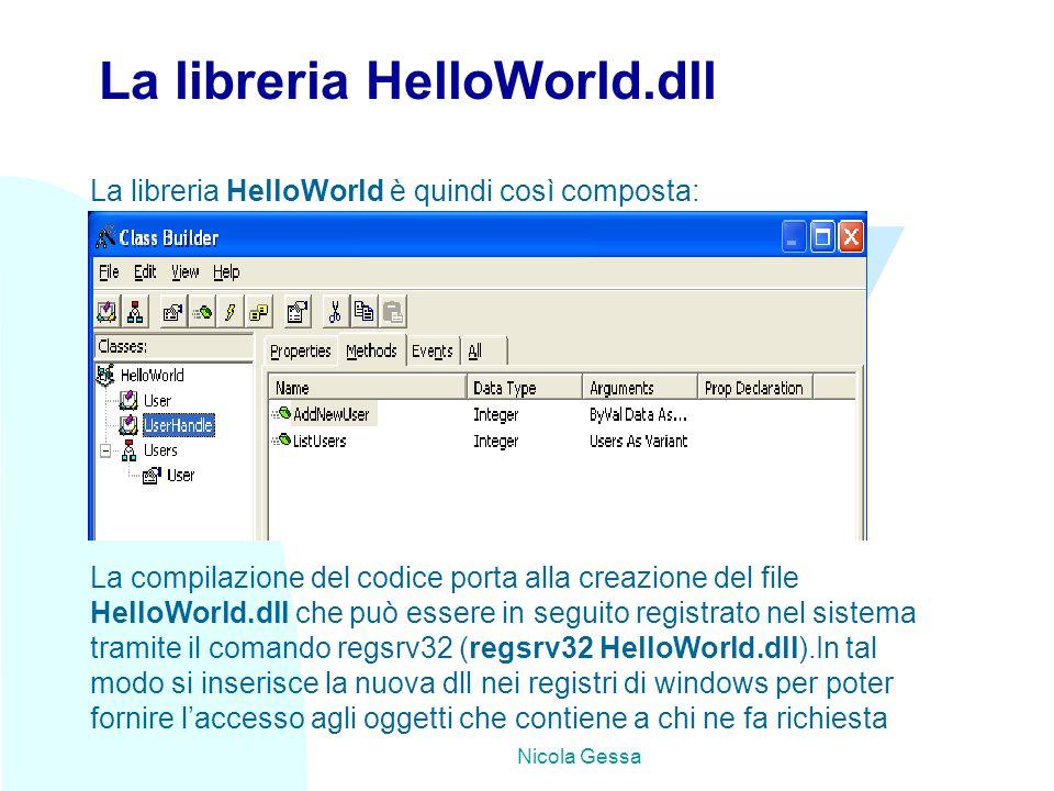 TW Nicola Gessa La libreria HelloWorld.dll La libreria HelloWorld è quindi così composta: La compilazione del codice porta alla creazione del file HelloWorld.dll che può essere in seguito registrato nel sistema tramite il comando regsrv32 (regsrv32 HelloWorld.dll).In tal modo si inserisce la nuova dll nei registri di windows per poter fornire l'accesso agli oggetti che contiene a chi ne fa richiesta