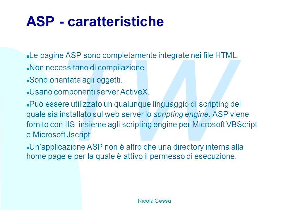 TW Nicola Gessa Come funzionano le pagine ASP Il procedimento attraverso il quale vengono create delle pagine dinamiche segue questa successione di operazioni: n Il browser richiede una pagina.asp.