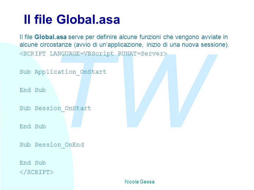 TW Nicola Gessa Il file Global.asa Il file Global.asa serve per definire alcune funzioni che vengono avviate in alcune circostanze (avvio di un'applicazione, inizio di una nuova sessione).