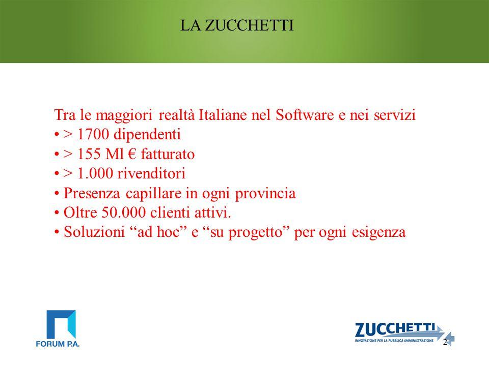 2 LA ZUCCHETTI Tra le maggiori realtà Italiane nel Software e nei servizi > 1700 dipendenti > 155 Ml € fatturato > 1.000 rivenditori Presenza capillare in ogni provincia Oltre 50.000 clienti attivi.