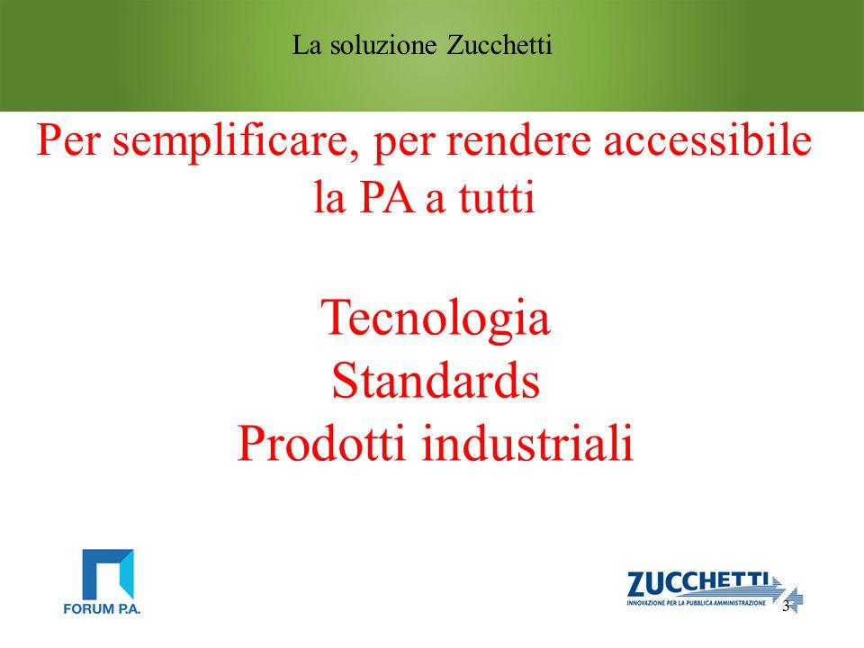 3 La soluzione Zucchetti Tecnologia Standards Prodotti industriali Per semplificare, per rendere accessibile la PA a tutti
