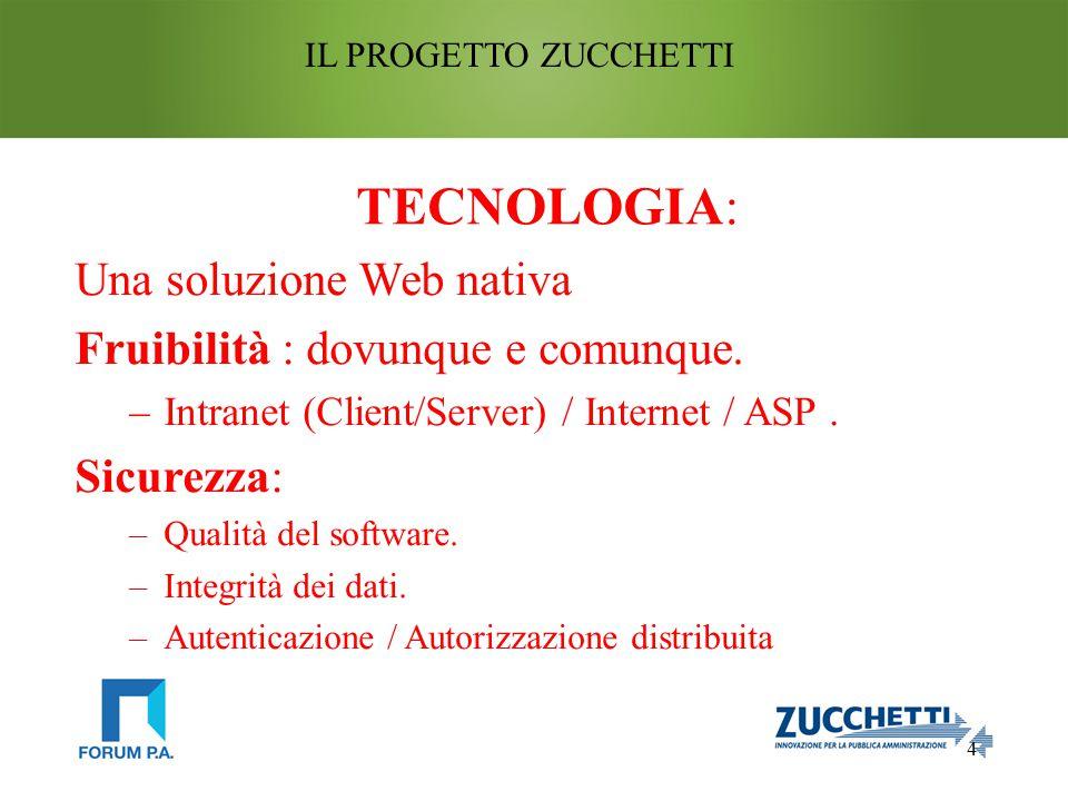 4 IL PROGETTO ZUCCHETTI TECNOLOGIA: Una soluzione Web nativa Fruibilità : dovunque e comunque.