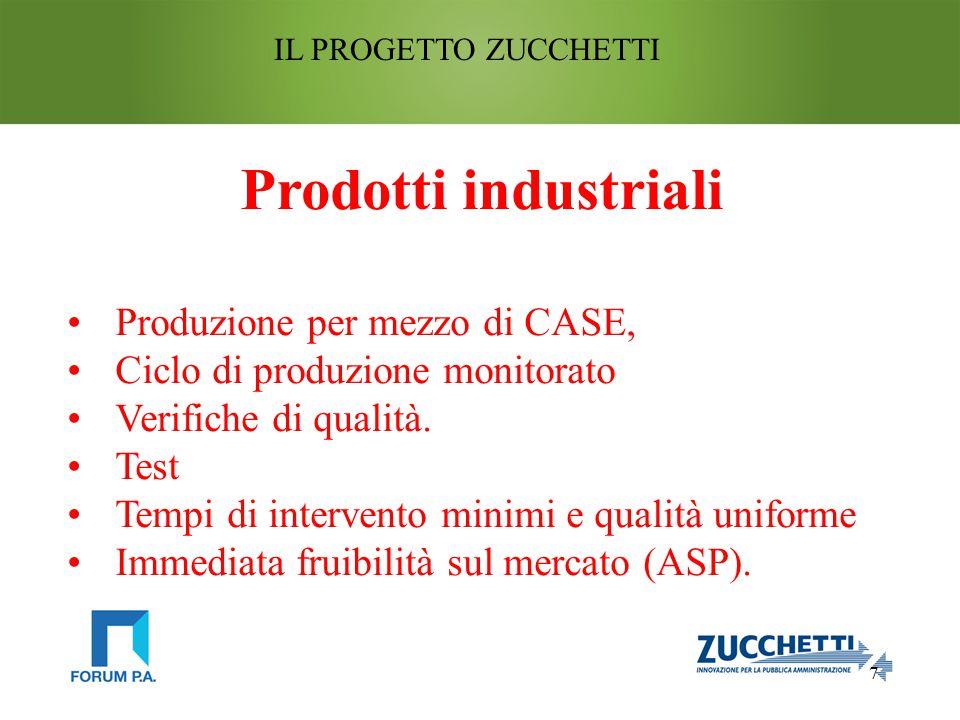 7 IL PROGETTO ZUCCHETTI Prodotti industriali Produzione per mezzo di CASE, Ciclo di produzione monitorato Verifiche di qualità.