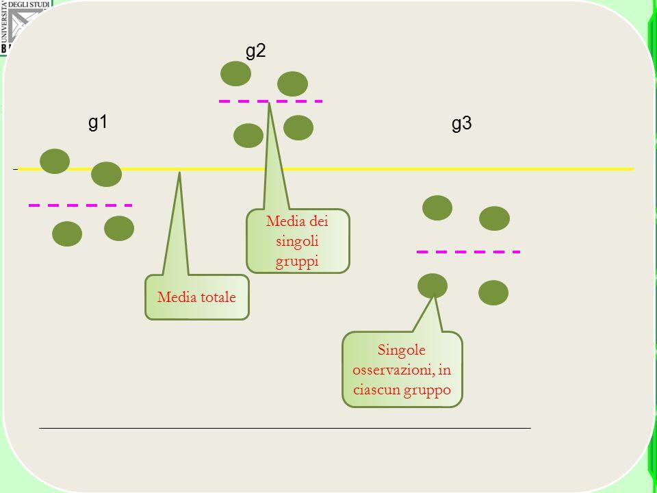 g1 g2 g3 Media totale Media dei singoli gruppi Singole osservazioni, in ciascun gruppo