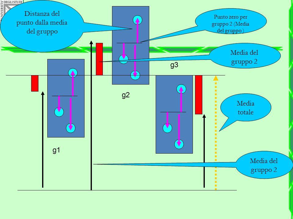 Media totale g1 g2 g3 Punto zero per gruppo 2 (Media del gruppo ) Media del gruppo 2 Distanza del punto dalla media del gruppo Media del gruppo 2
