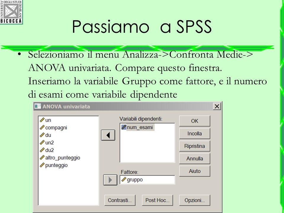 Passiamo a SPSS Selezioniamo il menu Analizza->Confronta Medie-> ANOVA univariata. Compare questo finestra. Inseriamo la variabile Gruppo come fattore