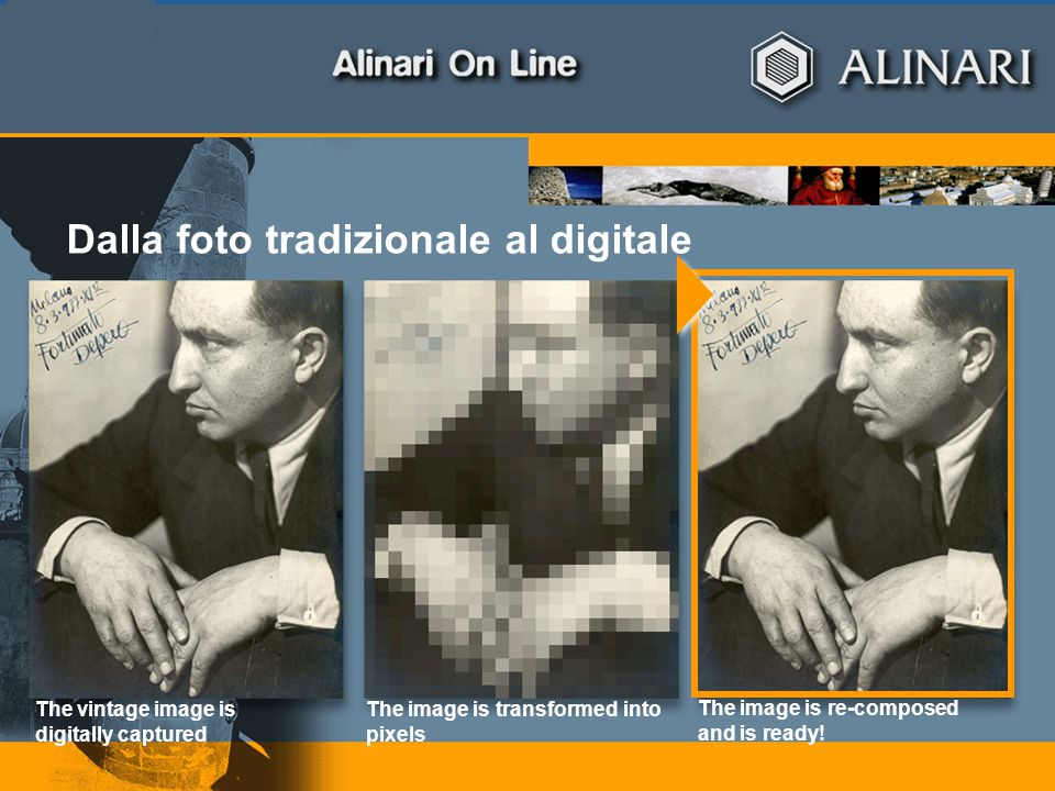 page 6April 23, 2015 The vintage image is digitally captured Dalla foto tradizionale al digitale The image is transformed into pixels The image is re-composed and is ready!