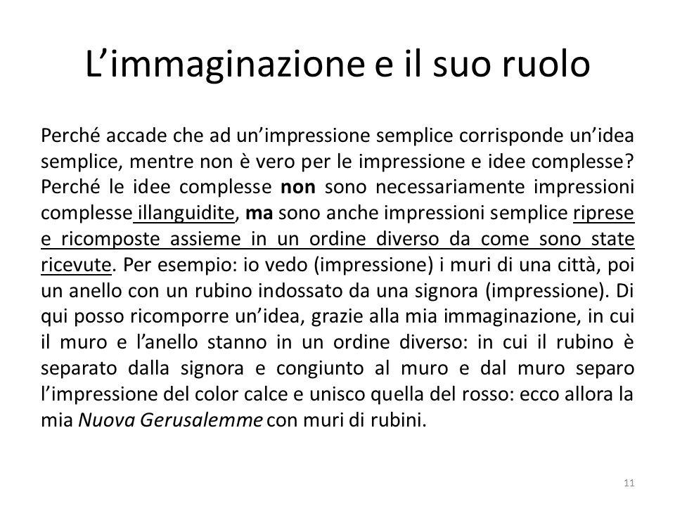 L'immaginazione e il suo ruolo Perché accade che ad un'impressione semplice corrisponde un'idea semplice, mentre non è vero per le impressione e idee complesse.