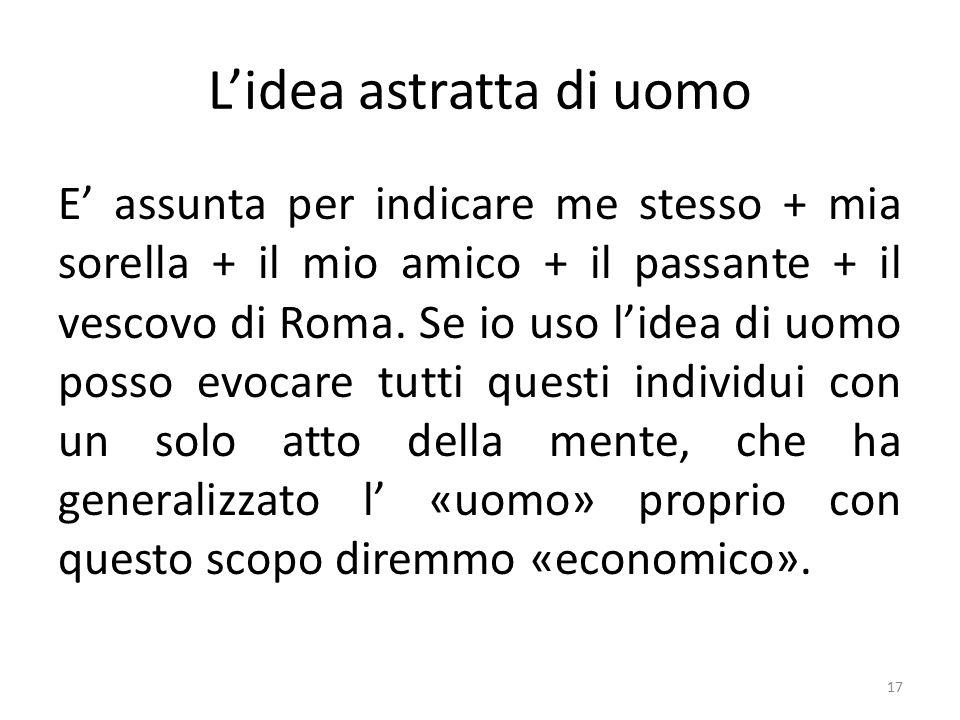 L'idea astratta di uomo E' assunta per indicare me stesso + mia sorella + il mio amico + il passante + il vescovo di Roma.
