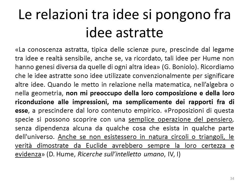 Le relazioni tra idee si pongono fra idee astratte «La conoscenza astratta, tipica delle scienze pure, prescinde dal legame tra idee e realtà sensibile, anche se, va ricordato, tali idee per Hume non hanno genesi diversa da quelle di ogni altra idea» (G.