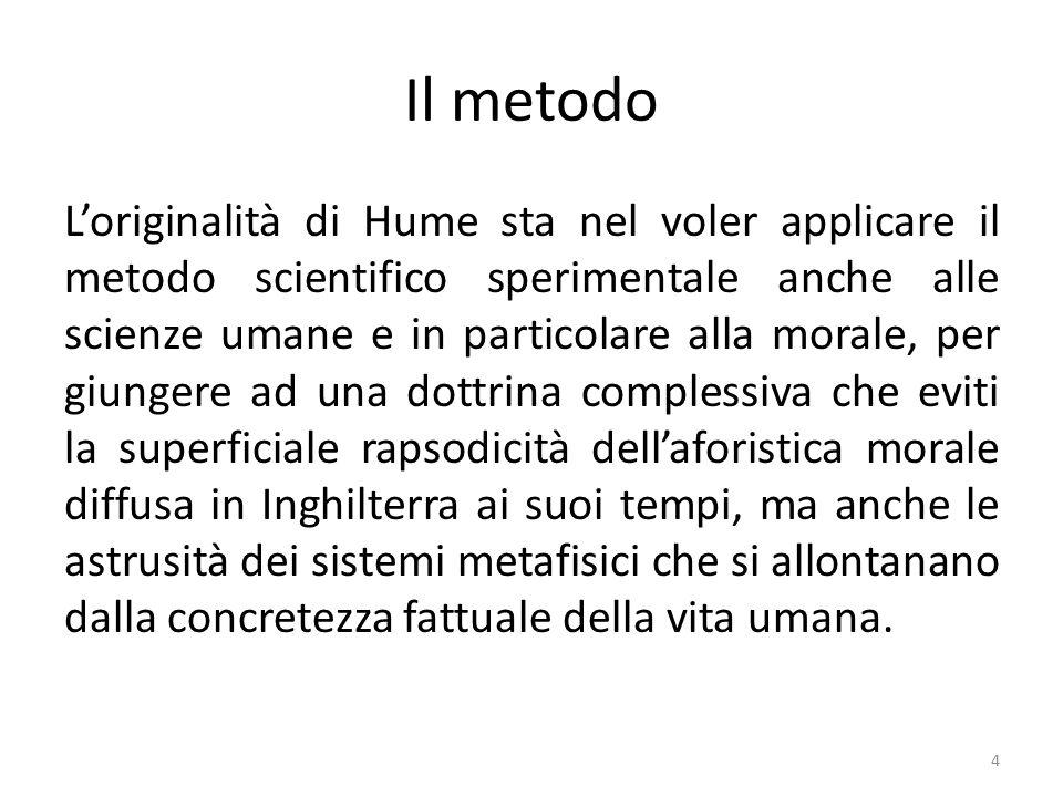 L'empirismo di Hume Ogni contenuto rappresentativo sorge da una data esperienza.