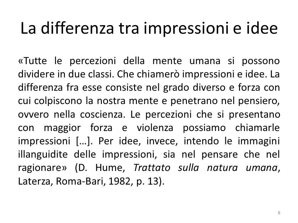 Impressioni ed idee semplici e complesse Le impressioni e le idee si classificano come semplici e complesse.