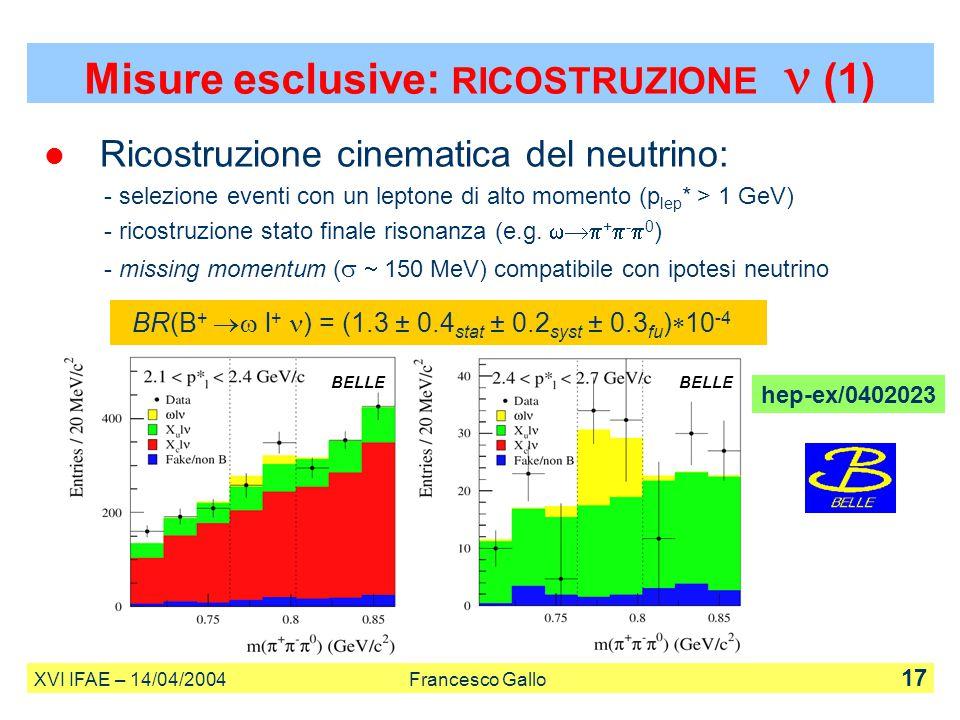 Ricostruzione cinematica del neutrino: - selezione eventi con un leptone di alto momento (p lep * > 1 GeV) - ricostruzione stato finale risonanza (e.g