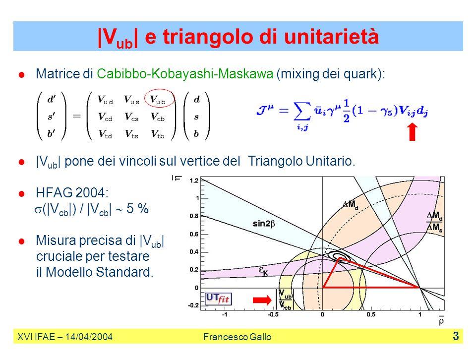 |V ub | e triangolo di unitarietà XVI IFAE – 14/04/2004 Francesco Gallo 3 Matrice di Cabibbo-Kobayashi-Maskawa (mixing dei quark): |V ub | pone dei vi