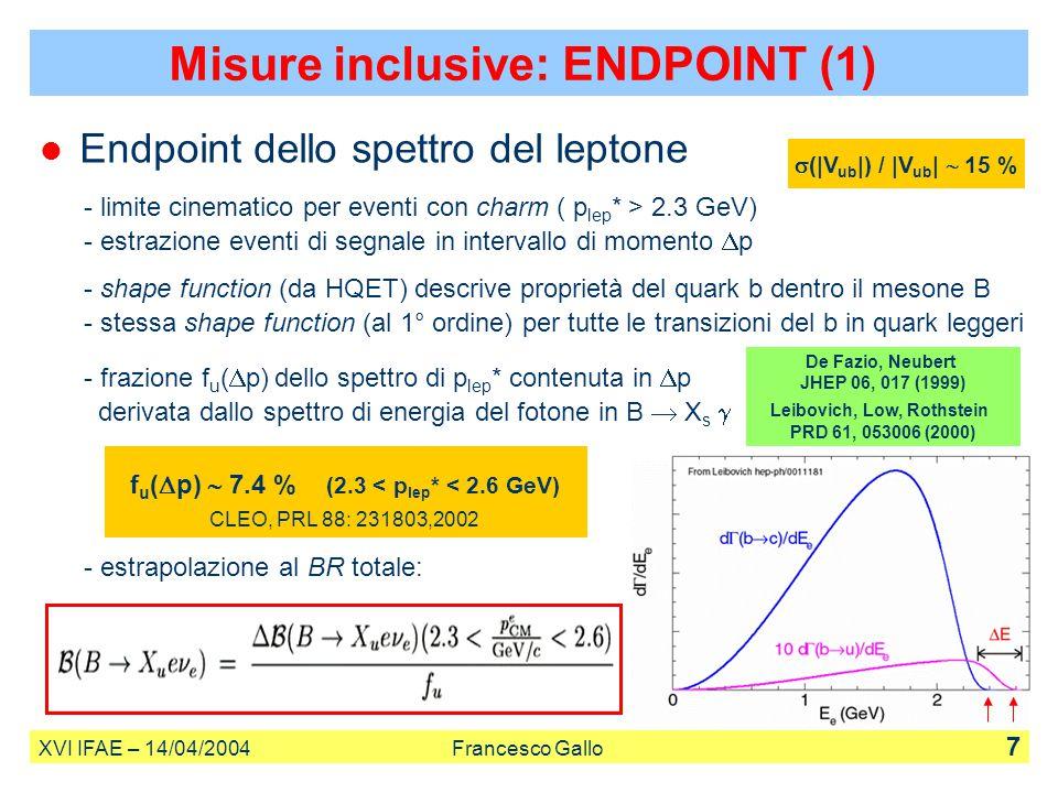 Endpoint dello spettro del leptone - limite cinematico per eventi con charm ( p lep * > 2.3 GeV) - estrazione eventi di segnale in intervallo di momen