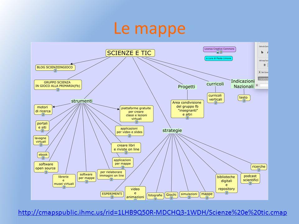 http://cmapspublic.ihmc.us/rid=1LHB9Q50R-MDCHQ3-1WDH/Scienze%20e%20tic.cmap Le mappe