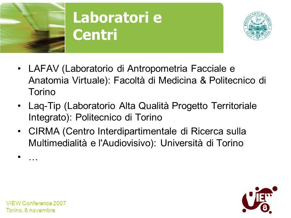 VIEW Conference 2007 Torino, 6 novembre Laboratori e Centri LAFAV (Laboratorio di Antropometria Facciale e Anatomia Virtuale): Facoltà di Medicina & P