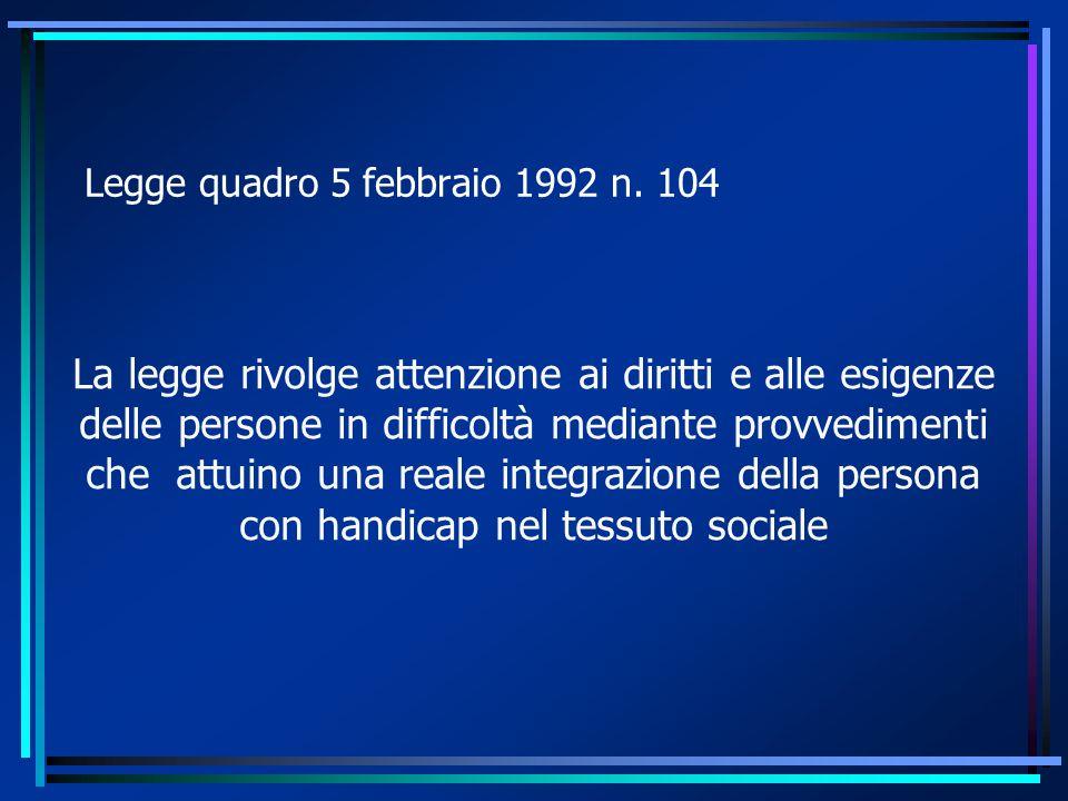 Tutela della persona handicappata ONU (dichiarazione del 20 dicembre 1971 e 9 dicembre 1975, in cui si afferma l eguaglianza giuridica della persona portatore di handicap, il rispetto della dignità e libertà)