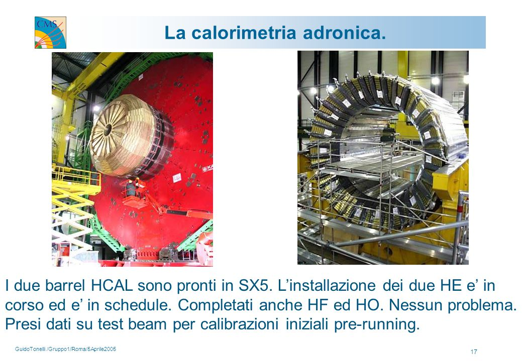 GuidoTonelli /Gruppo1/Roma/5Aprile2005 17 La calorimetria adronica.