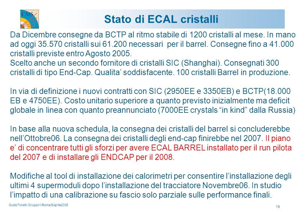 GuidoTonelli /Gruppo1/Roma/5Aprile2005 19 Stato di ECAL cristalli Da Dicembre consegne da BCTP al ritmo stabile di 1200 cristalli al mese.