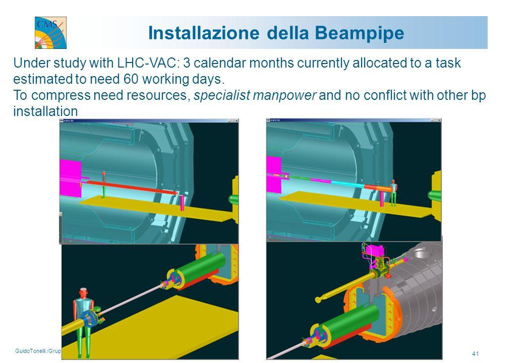 GuidoTonelli /Gruppo1/Roma/5Aprile2005 41 Installazione della Beampipe Under study with LHC-VAC: 3 calendar months currently allocated to a task estim