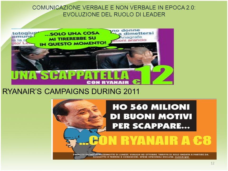 12 COMUNICAZIONE VERBALE E NON VERBALE IN EPOCA 2.0: EVOLUZIONE DEL RUOLO DI LEADER RYANAIR'S CAMPAIGNS DURING 2011