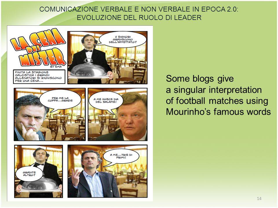 14 COMUNICAZIONE VERBALE E NON VERBALE IN EPOCA 2.0: EVOLUZIONE DEL RUOLO DI LEADER Some blogs give a singular interpretation of football matches using Mourinho's famous words
