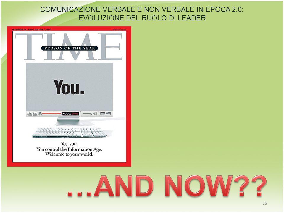 15 COMUNICAZIONE VERBALE E NON VERBALE IN EPOCA 2.0: EVOLUZIONE DEL RUOLO DI LEADER