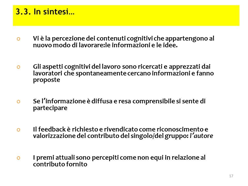 oVi è la percezione dei contenuti cognitivi che appartengono al nuovo modo di lavorare:le informazioni e le idee.