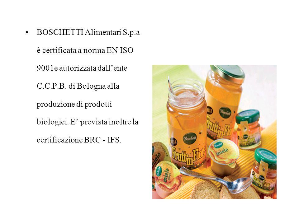 BOSCHETTI Alimentari S.p.a è certificata a norma EN ISO 9001e autorizzata dall'ente C.C.P.B.