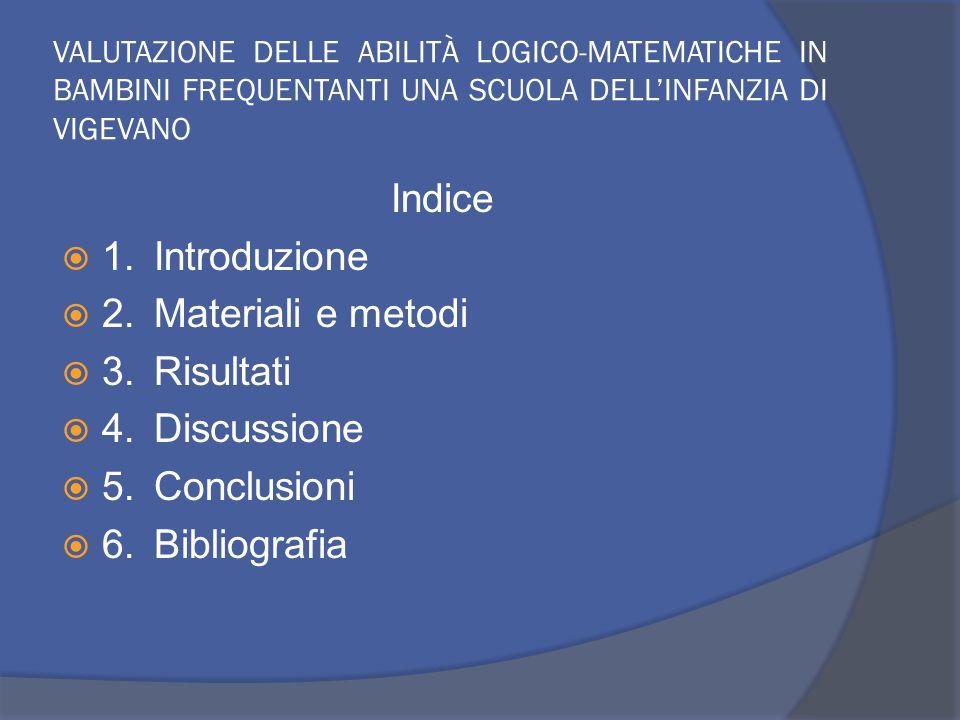 VALUTAZIONE DELLE ABILITÀ LOGICO-MATEMATICHE IN BAMBINI FREQUENTANTI UNA SCUOLA DELL'INFANZIA DI VIGEVANO Indice  1.Introduzione  2.Materiali e metodi  3.Risultati  4.Discussione  5.Conclusioni  6.Bibliografia