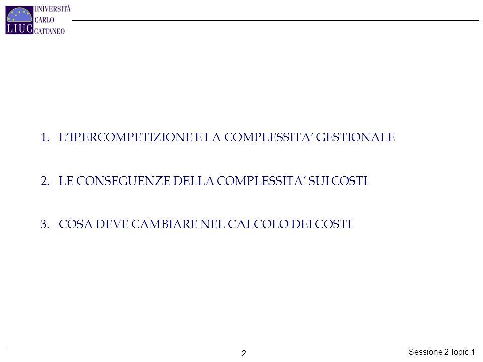 Sessione 2 Topic 1 2 1.L'IPERCOMPETIZIONE E LA COMPLESSITA' GESTIONALE 2.LE CONSEGUENZE DELLA COMPLESSITA' SUI COSTI 3.COSA DEVE CAMBIARE NEL CALCOLO