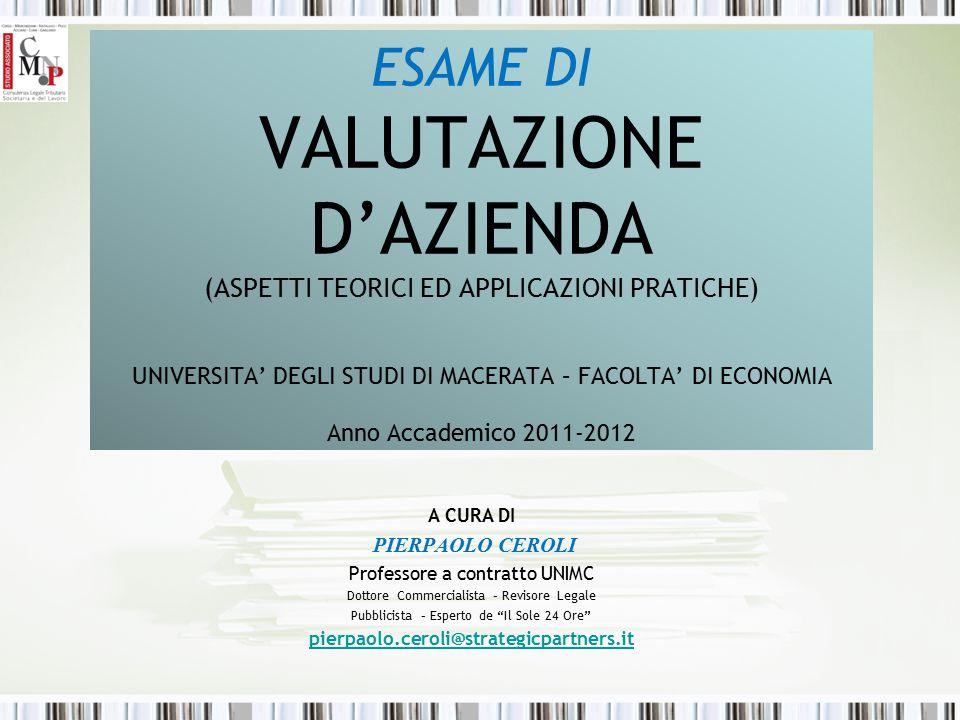 ESAME DI VALUTAZIONE D'AZIENDA (ASPETTI TEORICI ED APPLICAZIONI PRATICHE) UNIVERSITA' DEGLI STUDI DI MACERATA – FACOLTA' DI ECONOMIA Anno Accademico 2