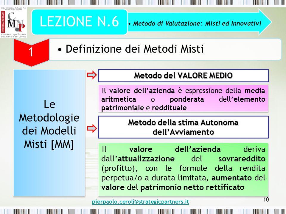 pierpaolo.ceroli@strategicpartners.it 10 Metodo di Valutazione: Misti ed Innovativi LEZIONE N.6 1 Definizione dei Metodi Misti Le Metodologie dei Mode