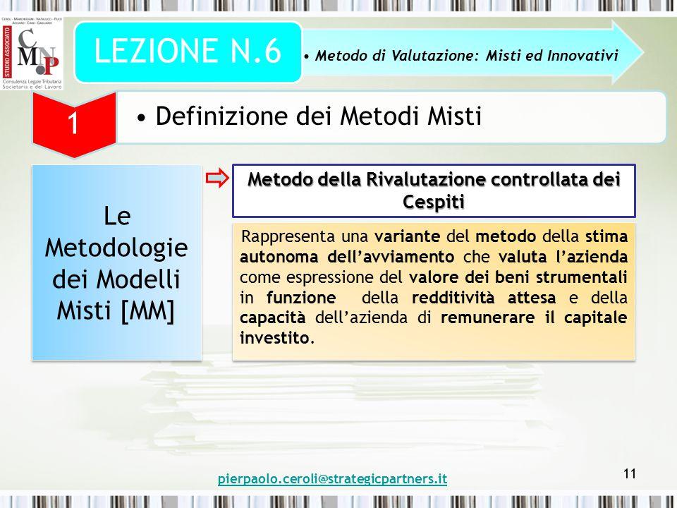 pierpaolo.ceroli@strategicpartners.it 11 Metodo di Valutazione: Misti ed Innovativi LEZIONE N.6 1 Definizione dei Metodi Misti Le Metodologie dei Mode