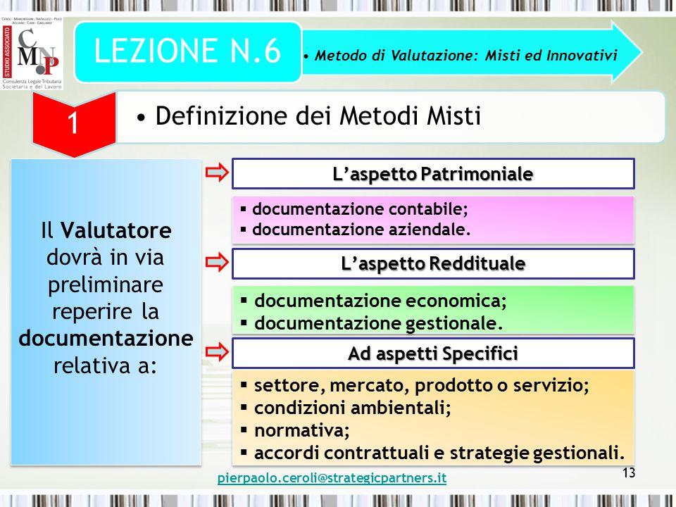 pierpaolo.ceroli@strategicpartners.it 13 Metodo di Valutazione: Misti ed Innovativi LEZIONE N.6 1 Definizione dei Metodi Misti Il Valutatore dovrà in