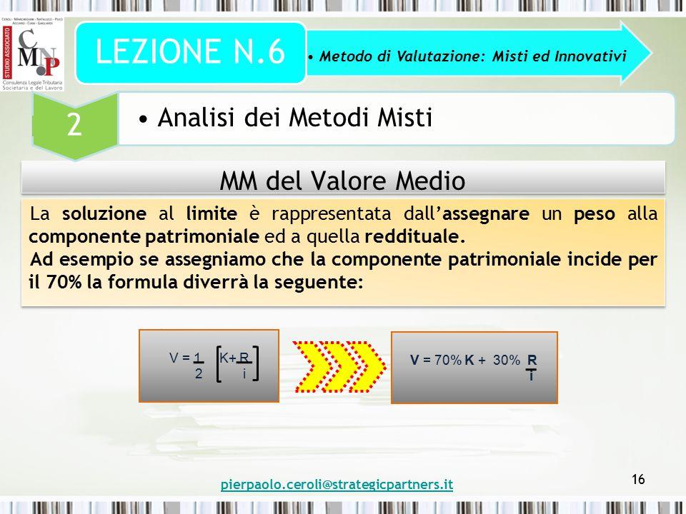 pierpaolo.ceroli@strategicpartners.it 16 MM del Valore Medio Metodo di Valutazione: Misti ed Innovativi LEZIONE N.6 2 Analisi dei Metodi Misti La solu