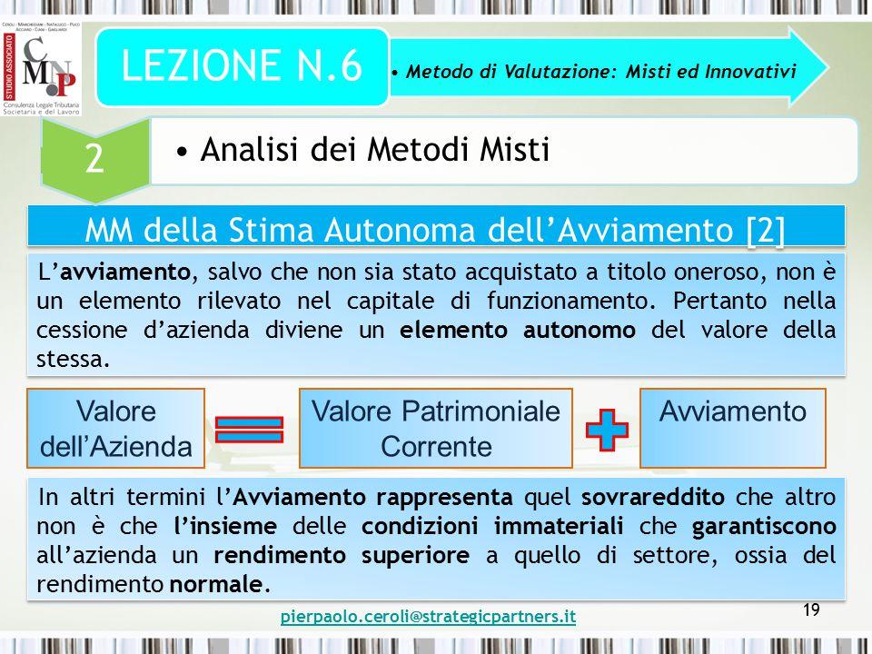 pierpaolo.ceroli@strategicpartners.it 19 MM della Stima Autonoma dell'Avviamento [2] Metodo di Valutazione: Misti ed Innovativi LEZIONE N.6 2 Analisi