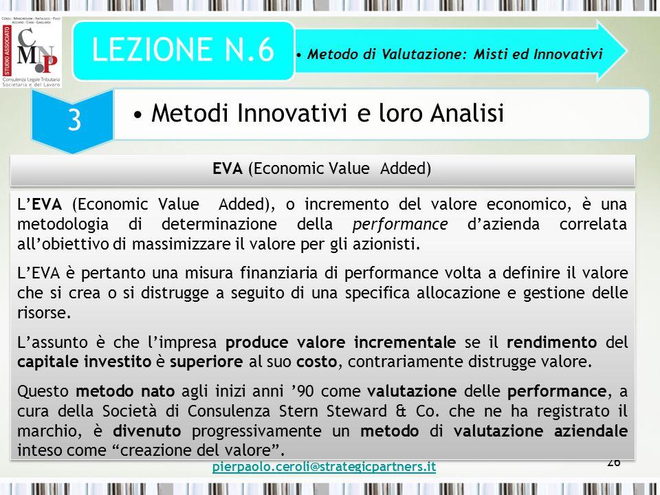 pierpaolo.ceroli@strategicpartners.it 26 Metodo di Valutazione: Misti ed Innovativi LEZIONE N.6 3 Metodi Innovativi e loro Analisi EVA (Economic Value