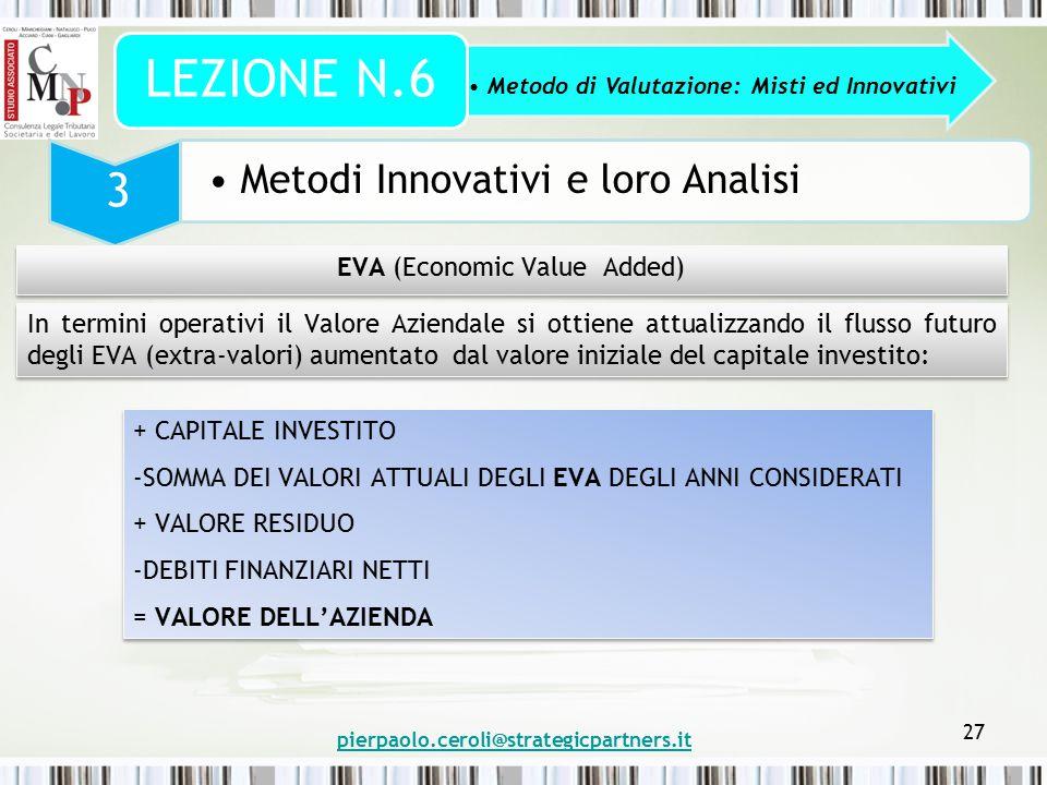 pierpaolo.ceroli@strategicpartners.it 27 Metodo di Valutazione: Misti ed Innovativi LEZIONE N.6 3 Metodi Innovativi e loro Analisi EVA (Economic Value