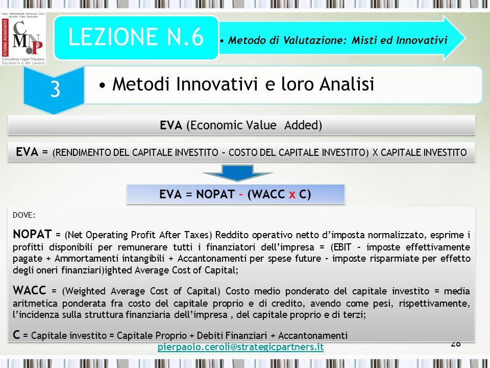 pierpaolo.ceroli@strategicpartners.it 28 Metodo di Valutazione: Misti ed Innovativi LEZIONE N.6 3 Metodi Innovativi e loro Analisi EVA (Economic Value