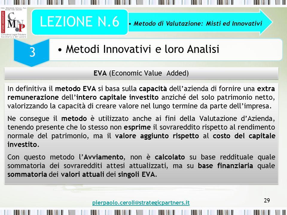 pierpaolo.ceroli@strategicpartners.it 29 Metodo di Valutazione: Misti ed Innovativi LEZIONE N.6 3 Metodi Innovativi e loro Analisi EVA (Economic Value
