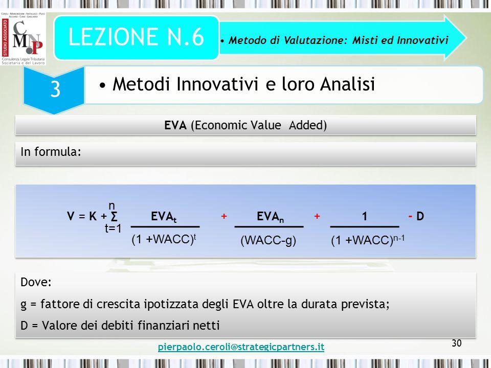 pierpaolo.ceroli@strategicpartners.it 30 Metodo di Valutazione: Misti ed Innovativi LEZIONE N.6 3 Metodi Innovativi e loro Analisi EVA (Economic Value