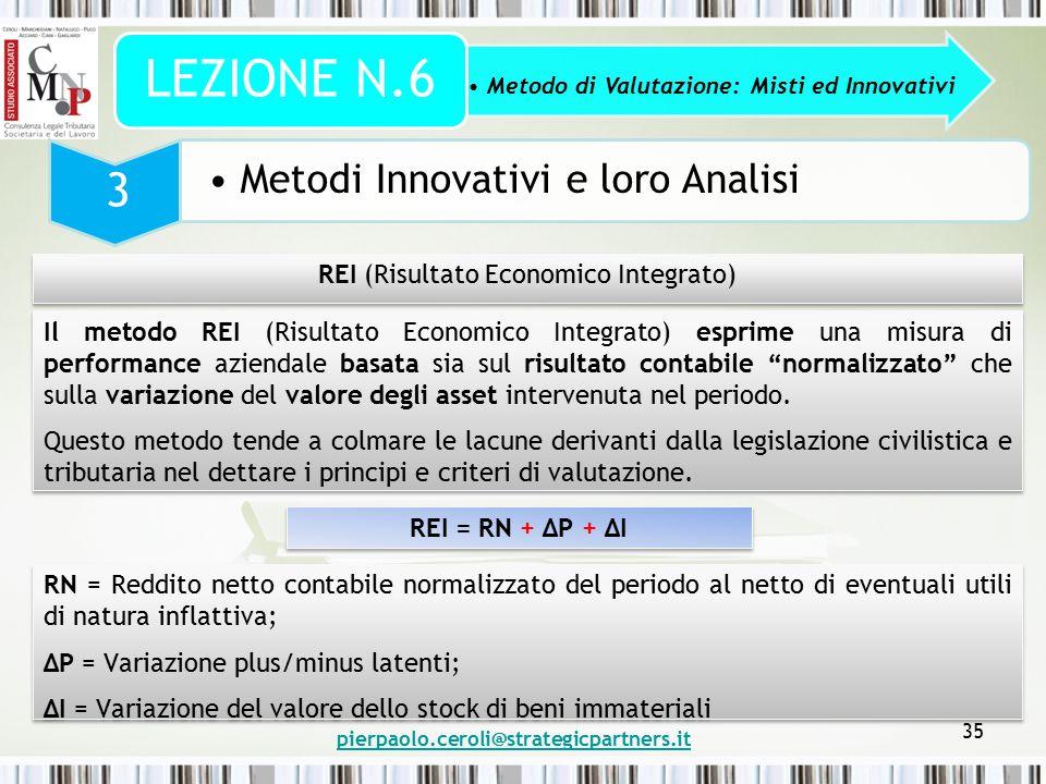 pierpaolo.ceroli@strategicpartners.it 35 Metodo di Valutazione: Misti ed Innovativi LEZIONE N.6 3 Metodi Innovativi e loro Analisi REI (Risultato Econ