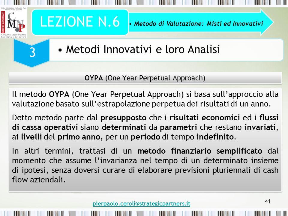 pierpaolo.ceroli@strategicpartners.it 41 Metodo di Valutazione: Misti ed Innovativi LEZIONE N.6 3 Metodi Innovativi e loro Analisi OYPA (One Year Perp