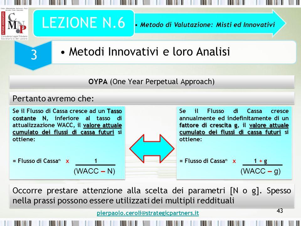 pierpaolo.ceroli@strategicpartners.it 43 Metodo di Valutazione: Misti ed Innovativi LEZIONE N.6 3 Metodi Innovativi e loro Analisi OYPA (One Year Perp