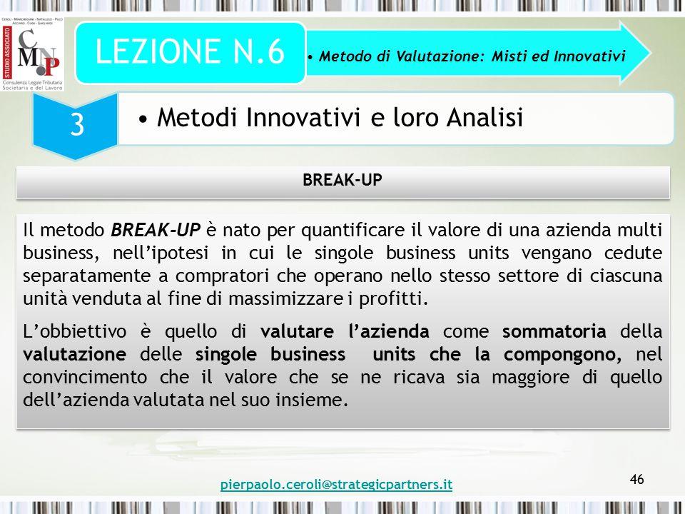 pierpaolo.ceroli@strategicpartners.it 46 Metodo di Valutazione: Misti ed Innovativi LEZIONE N.6 3 Metodi Innovativi e loro Analisi BREAK-UP Il metodo