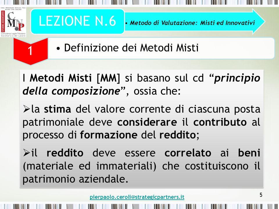 """pierpaolo.ceroli@strategicpartners.it 5 I Metodi Misti [MM] si basano sul cd """"principio della composizione"""", ossia che:  la stima del valore corrente"""
