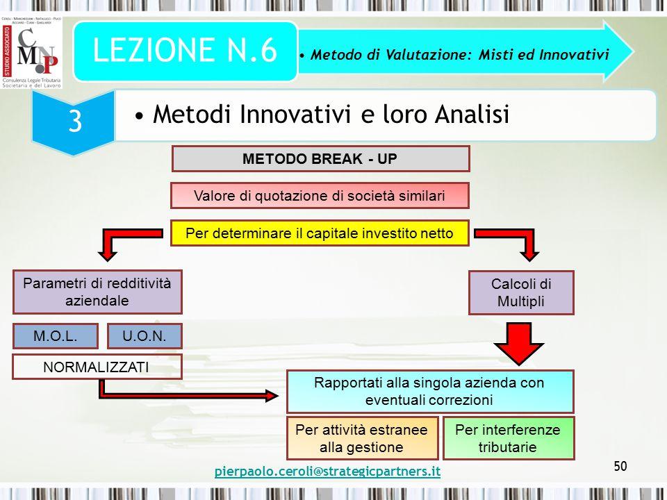 pierpaolo.ceroli@strategicpartners.it 50 Metodo di Valutazione: Misti ed Innovativi LEZIONE N.6 3 Metodi Innovativi e loro Analisi METODO BREAK - UP V